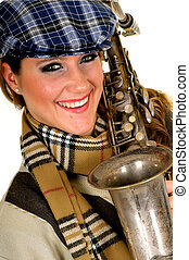 Music performer, saxophone - Attractive alternative dressed...