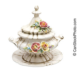tureen of soup on a white background