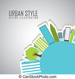 urban style over gray background vector illustration