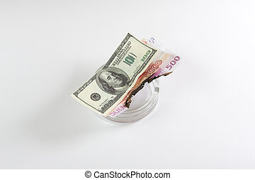 Money in an ashtray burns on white background