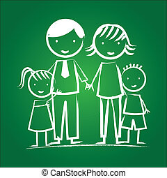 family icon over green background. vector illustration