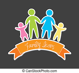 family icons over gray background vector illustration