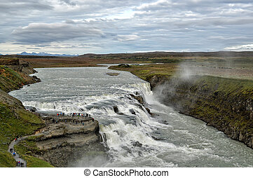 Gullfoss Waterfall on Hvita River in Iceland