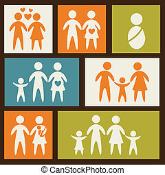 family icons over squares background. vector illustration