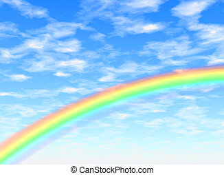 Rainbow arc - Background illustration of a rainbow in a blue...