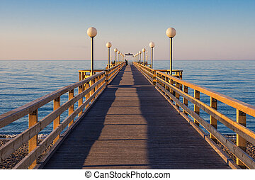 Pier on shore of the Baltic Sea in Heiligendamm (Germany)