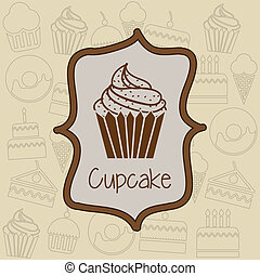 cup cake icon over label background vector illustration