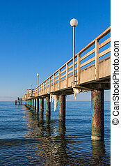 Pier on shore of the Baltic Sea in Heiligendamm Germany