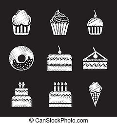 cakes icons over black background. vector illustration
