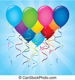 balloons birthday over blue background vector illustration