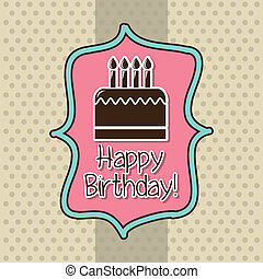 birthday card over beige background. vector illustration
