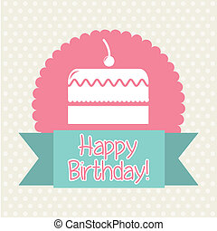 cup cake - big cake icon over label background. vector...