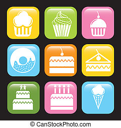 cakes icons over black background vector illustration