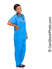 african female nurse isolated - beautiful african female...