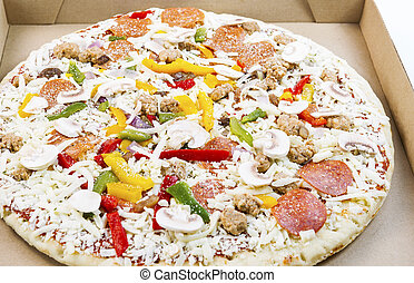 Prepared fresh pizza ready to be baked - Horizontal photo of...
