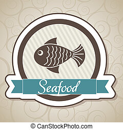 seafood of label over ornament background vector...