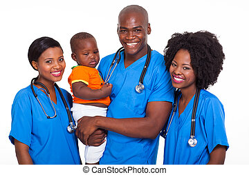 group of african pediatricians with baby boy isolated on...
