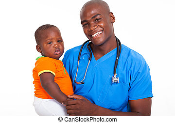 afro american male pediatrician with young patient -...
