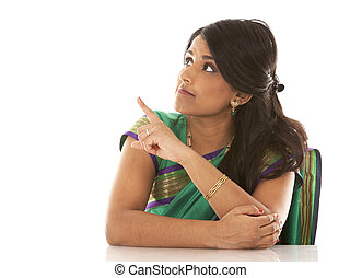 indian woman - pretty asian woman wering green indian outfit