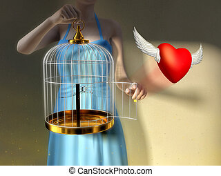 Free spirit - A young woman opening a cage to let an heart...
