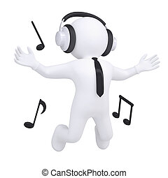 3d white man with headphones in the jump. Isolated render on...