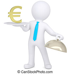 3d man holding a gold euro sign