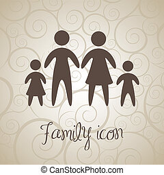 family icons over brown background. vector illustration