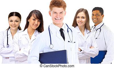 Portrait of group of smiling hospi