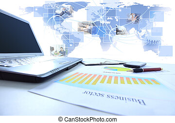 Graphs, charts, business table. Th