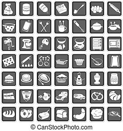 baking icons - A collection of different squared baking...