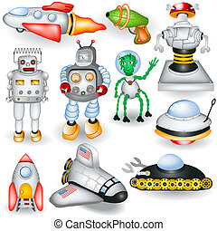 retro future icons - A collection of different retro future...