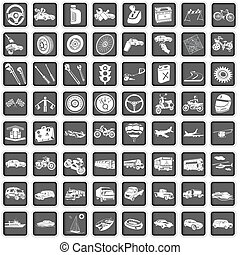 transport icons - A collection of different squared...