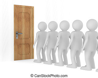 People standing one after another before closed door