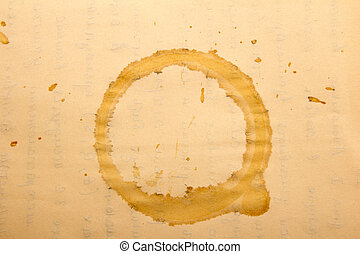 Texture - a sheet of the old paper with drops of coffee