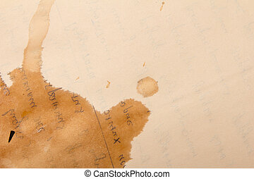 Coffee stains on old paper