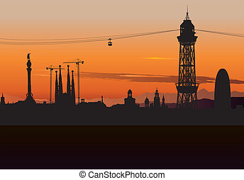 Barcelona skyline silhouette with sunset sky - Vector...