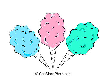 Cotton Candy in pink blue and green