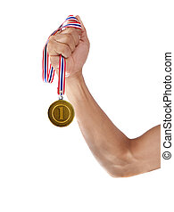 hand and gold medal isolated on white background