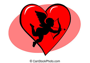 Red valentine heart with cupid