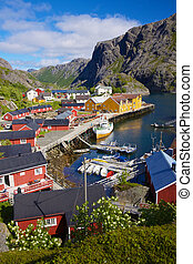 Nusfjord - Picturesque village of Nusfjord on Lofoten...