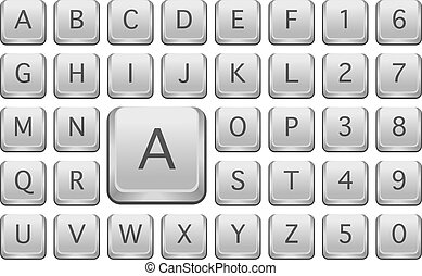Keyboard Keys With Alphabet Letters - Isolated on White