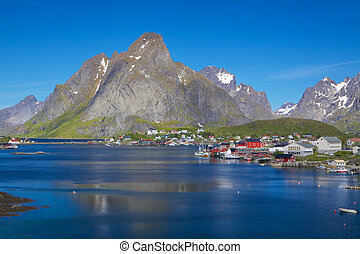 Norwegian fishing town - Picturesque fishing town of Reine...