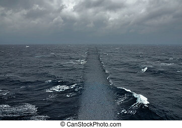 sea road ocean crossing - Ocean water dry ground path...