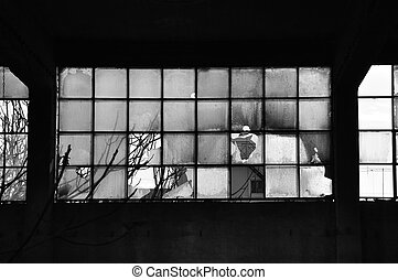 broken windows and concrete wall - Broken windows and...