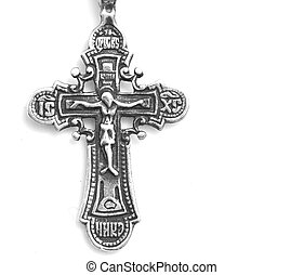 Orthodox silver cross on a white background