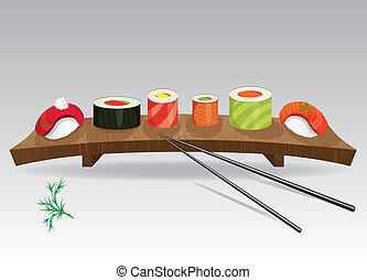 Sushi details of japanese cuisine - ingredients, fish,...