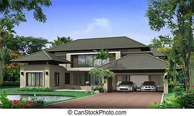 3d house - Proposal of perspective building, 3d rendering