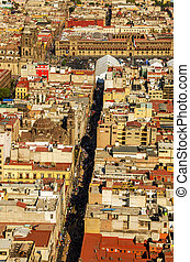 Mexico City Cathedral and Zocalo - Aerial view of the...