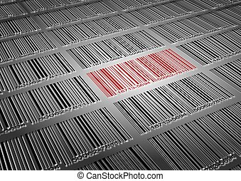Barcode sale - A number of black barcodes and a red barcode...