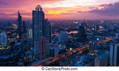 City Sunset Skyline - Bangkok, Thailand